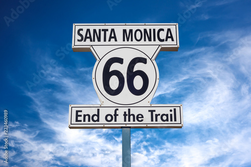 Route 66 End of Trail road sign in Santa Monica, Los Angeles, California