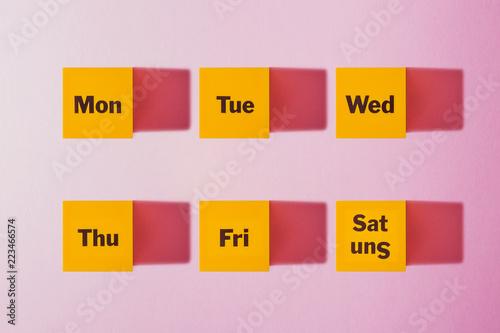 Fotografie, Obraz  Monday, Tuesday, Wednesday, Thursday, Friday, Saturday, Sunday  a yellow cube Pi