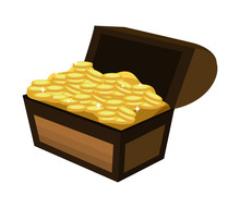 Wooden Chest Box With Gold Coins