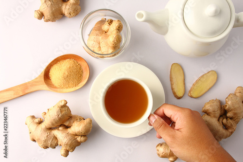 White ginger tea with white tea