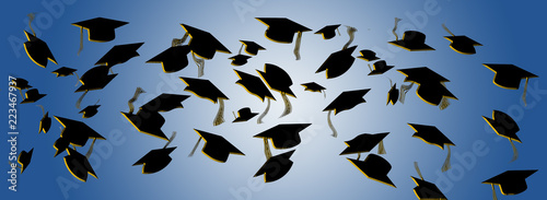 Fotografie, Obraz  Graduation caps are flying in this illustration about graduation day