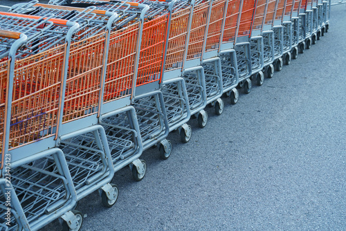 shopping carts in a row in parking lot outside store