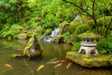 Portland Japanese Garden pond with koi fish