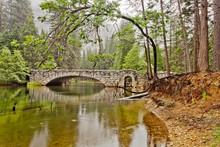 Stone Bridge Over Merced River In Yosemite