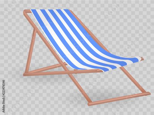 Fotografía White-blue striped chaise-longue on transparent background