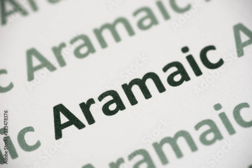 word Aramaic  language printed on paper macro Canvas Print