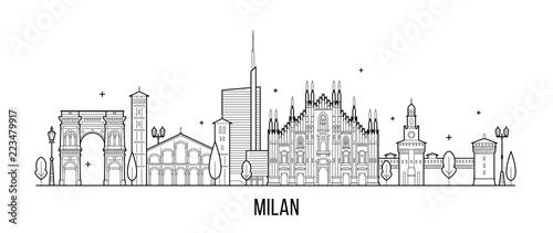 Milan skyline Italy city buildings vector line art