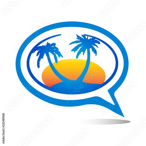 Exotic Palm Tree Logo or Icon Template