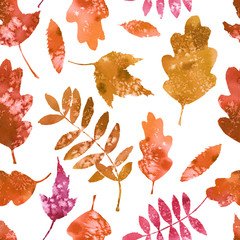 Fototapeta Watercolor pattern with bright autumn leaves.