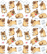 Cute Funny Pug Pupies Seamless Pattern Background