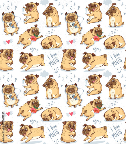 Fotografie, Obraz Cute funny pug pupies seamless pattern background