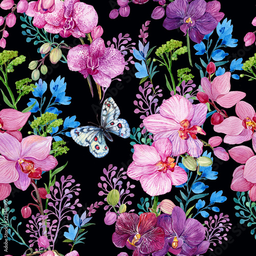 wzor-z-motyl-i-kwiaty-orchidee-watercolor-recznie-malowanie
