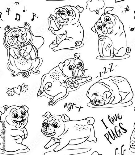 In de dag Cartoon draw Cute funny pug pupies seamless pattern background in contour