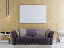 Mock Up Blank Poster On The Wall Of Modern Livingroom.