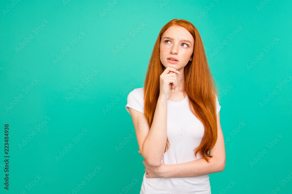 Fototapety, obrazy: Photo of confused person with long hair, stand in white t-shirt