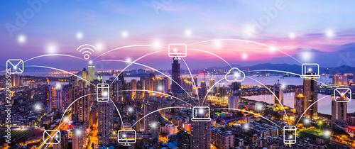 Xiamen City Scenery and Big Data Concept
