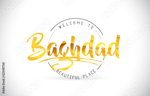 Valokuva  Baghdad Welcome To Word Text with Handwritten Font and Golden Texture Design