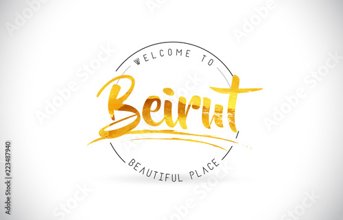 Tela Beirut Welcome To Word Text with Handwritten Font and Golden Texture Design