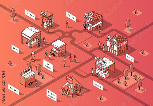 Vector 3d isometric food courts, fair with people Fototapet