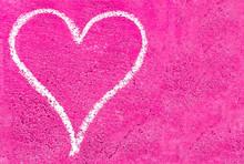 Grunge Heart On Pink Concrete