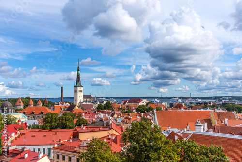 Aerial panoramic cityscape beautiful view of Old Town in Tallinn in summer, Esto Canvas Print