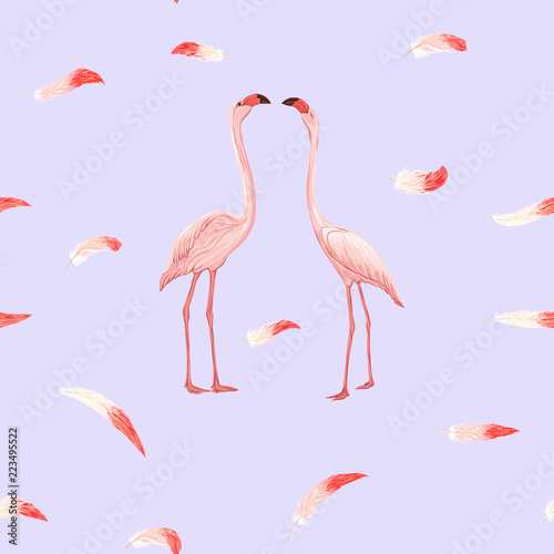In de dag Flamingo vogel Print