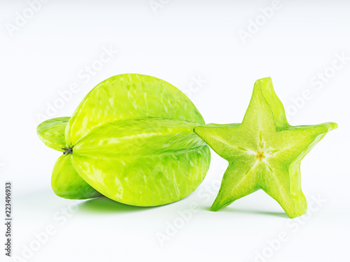 Green fruit of a carambola or starfruit (starfruit) on a white background.