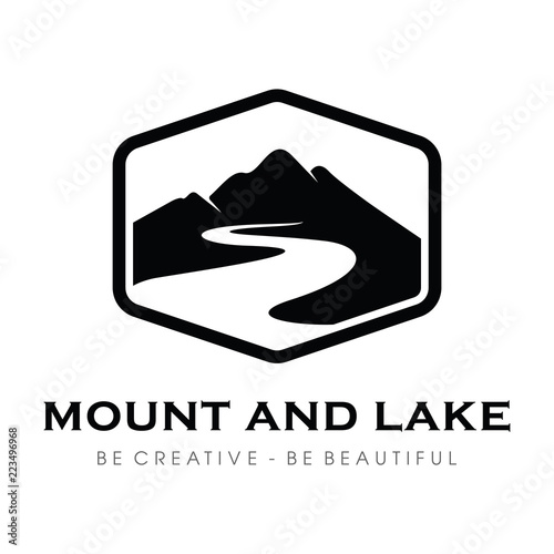 Mountain Lake And Hill Hipster Adventure Traveling Logo Design