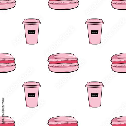 pociagany-recznie-bezszwowy-wzor-rozowa-filizanka-kawy-i-macaroons-macarons