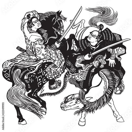 Fighting between two Japanese samurai warriors Wallpaper Mural