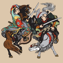 Fototapeta Japoński Combat of Japanese samurai warriors . Two horsemen soldiers sitting on pony horses and fighting with swords . Vector illustration