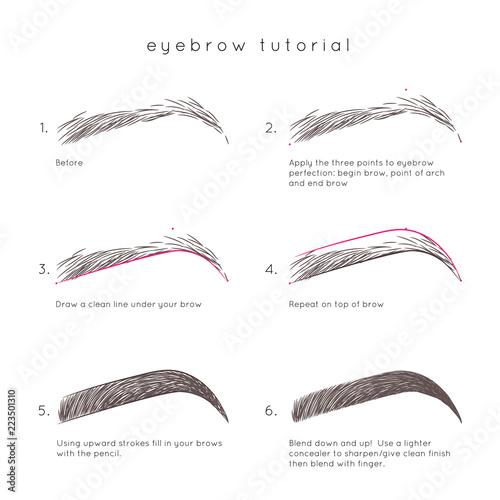 Valokuva Eyebrow Tutorial. How to make up eyebrow