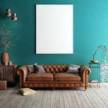Mock Up Poster In Classic Living Room.
