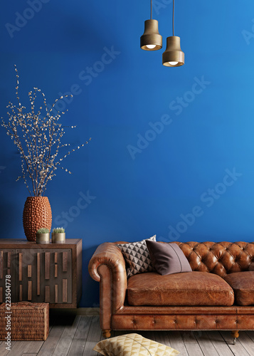 Fotografie, Obraz  Simple urban style interior with brown sofa and blue wal.