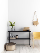 Bright Scandinavian Apartment With Yellow Chair, Low Rack And Deckor.