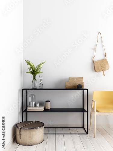 Fotografia  Bright scandinavian apartment with yellow chair, low rack and deckor