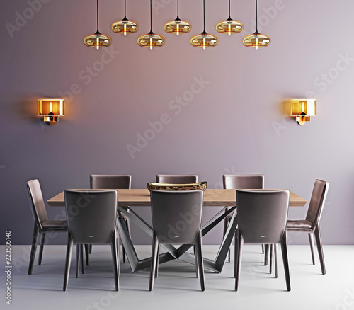 Fotomural  Room with contemporary dining table, white chairs and modern lamp
