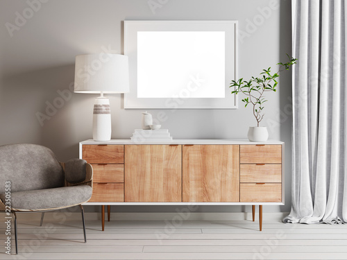 Fotografie, Obraz  mock up poster in Living room scandinavian style
