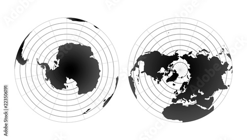 Arctic and antarctic poles globe hemispheres Canvas Print