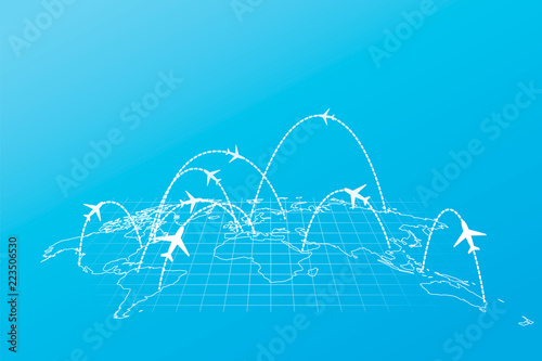 Tela Airline routes with planes on world map in perspective on blue background