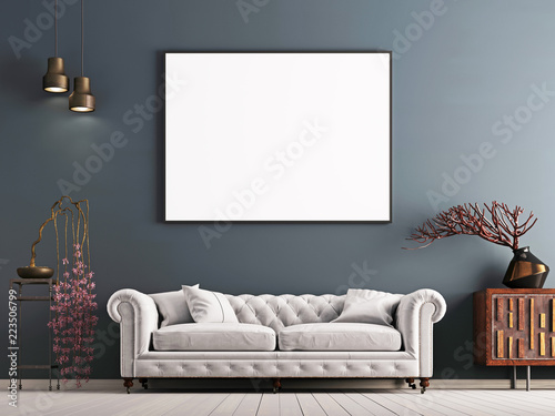Fotografie, Tablou mock up poster on gray wall in interior classical style with white sofa, and decor