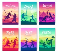 Martial Arts Of Different Nations Of The World. Traditional Fights With Weapons Brochure Cards Set. Fighting Style Battle Nature Template Of Flyear, Magazines, Poster, Books, Invitation Banners.