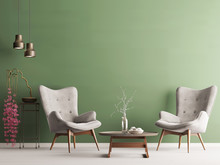 Empty Wall In Pastel Modern Interior With Green Wall, Soft Armchairs, Plant And Lamps.