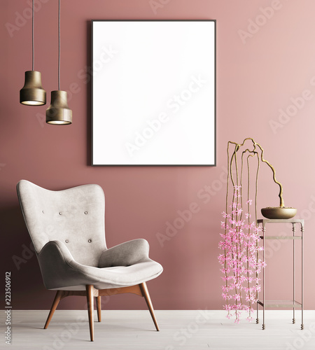 Fotografie, Obraz  mock up poster with chair & plant on table, minimalism loft interior background