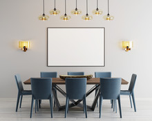Mockup Poster In Modern Dining Room With Long Table And Eight Chairs.