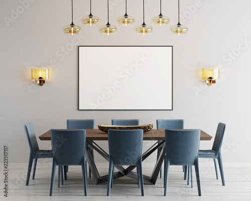Fotografía  mockup poster in modern dining room with long table and eight chairs