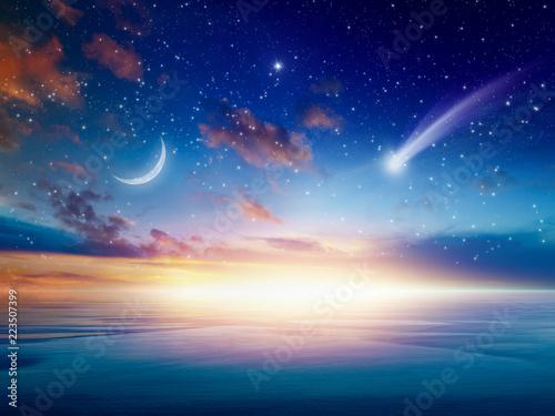 Obraz Falling comet, rising crescent moon and stars - fototapety do salonu