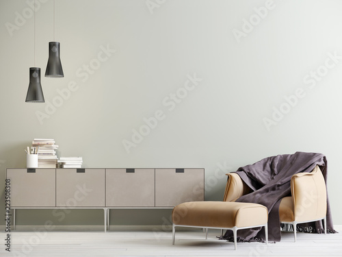Foto  Modern interior with a chest of drawers and a chair in a modern style with empty wall