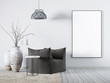 canvas print picture - Mock up poster in living room interior white fabric armchair, a coffee table and big vase.