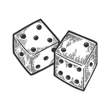 Dice Engraving Vector Illustration. Scratch Board Style Imitation. Black And White Hand Drawn Image.